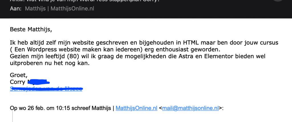 Review matthijsonline.nl Corry